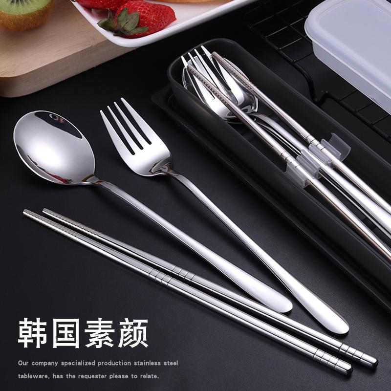 韩式不锈钢筷子勺子套装学生便携餐具三件套成人韩国长柄可爱叉子