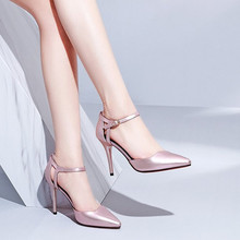 2021春夏新款细高跟尖头女凉鞋大码4md16.42cs32女扣带家居女鞋