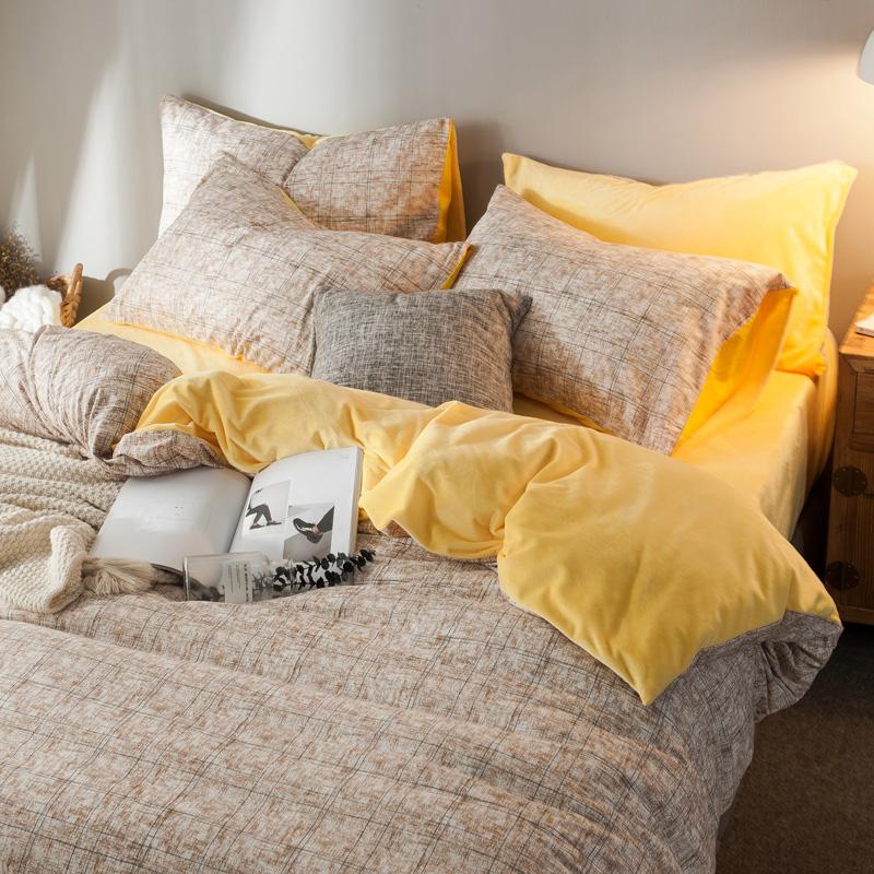 水晶绒四件套女珊瑚绒全棉纯棉床单被套冬季法兰绒床上用品三件套-佐雅家纺品质店