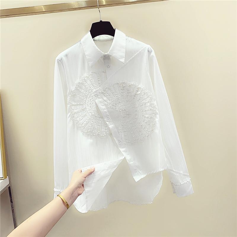2020春秋白色衬衫女长袖设计感小众钉珠蕾丝拼接不规则衬衣上衣潮
