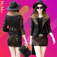 皮衣(小)西装外套女短款秋冬sf9时尚真皮px加棉加厚夹克套装裙