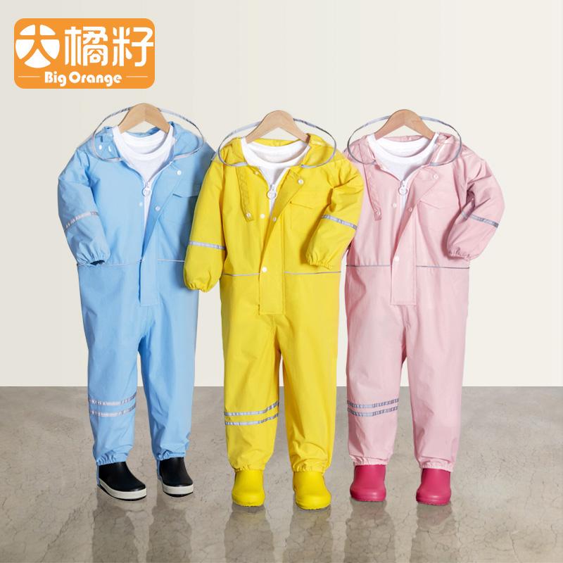 BigOrange儿童宝宝幼儿园小孩全身防水男童女童连体雨衣雨裤套装