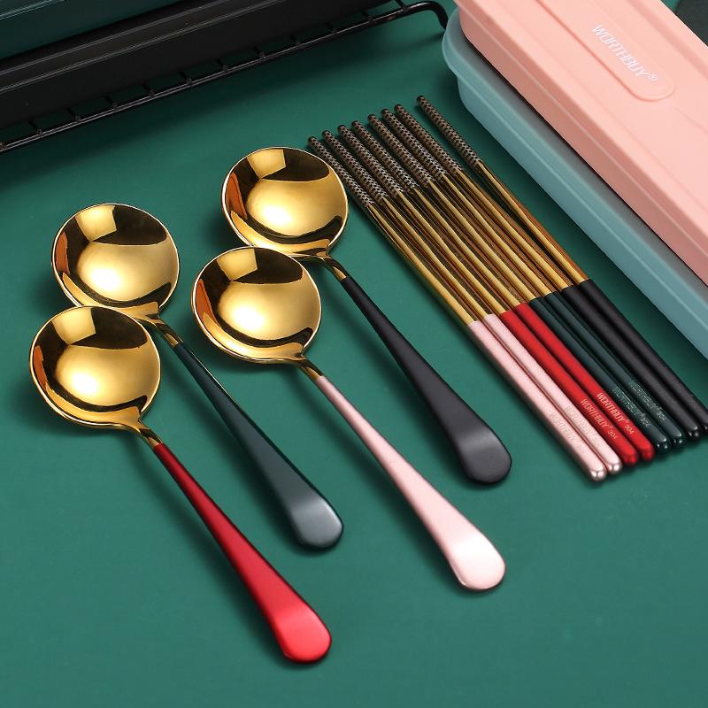 304不锈钢筷子勺子可爱便携餐具三件套装单人学生外带收纳餐具盒