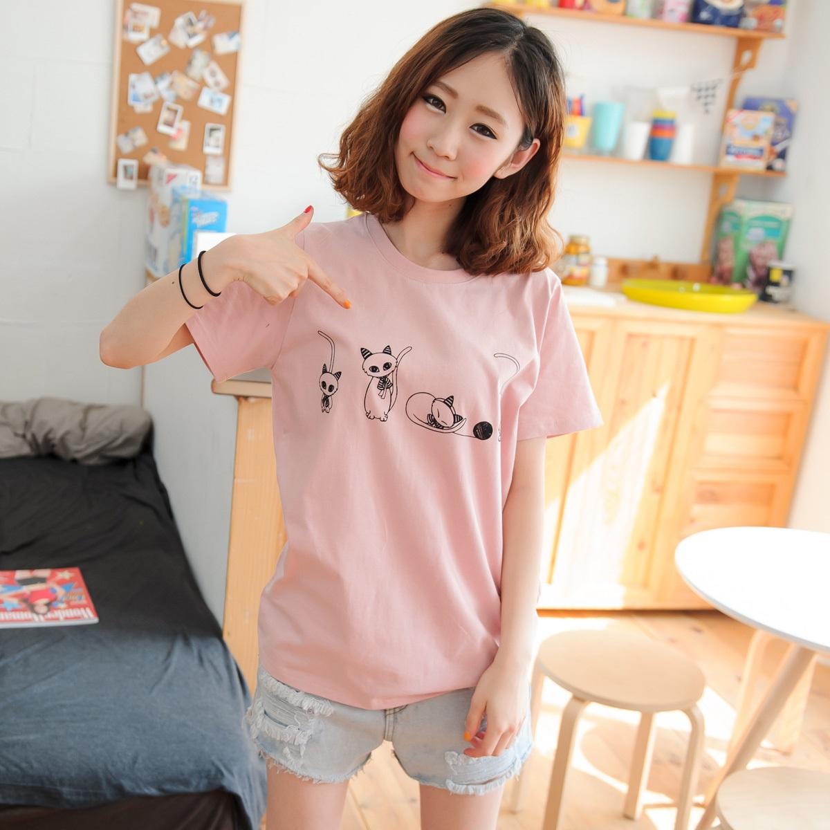 夏装可爱卡通纯棉短袖t恤女宽松中长款学生夏季韩版甜美半袖上衣