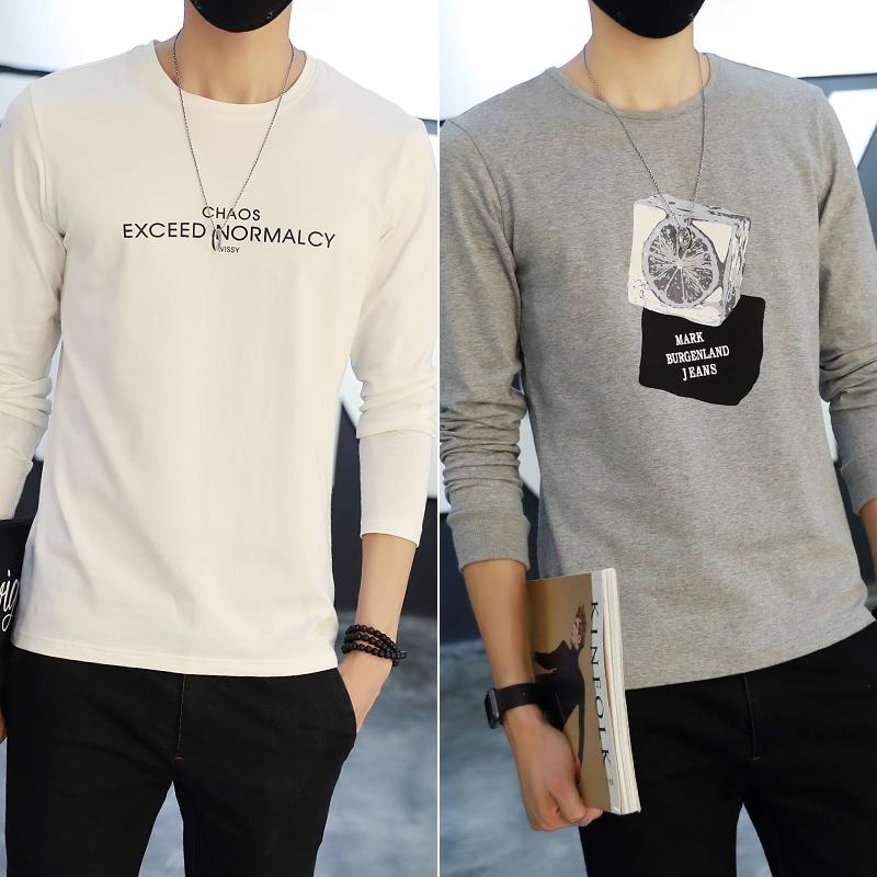 男t恤纯棉加绒男士圆领体恤男装卫衣男衣服修身长袖T恤男打底衫潮