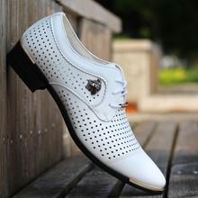 夏季男士皮鞋镂空男鞋洞洞凉鞋zk11款英伦qc装尖头休闲鞋白