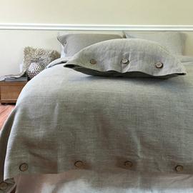 水洗亚麻床品套件/四件套/多件套北欧ins风简约扣子/系带定制家纺
