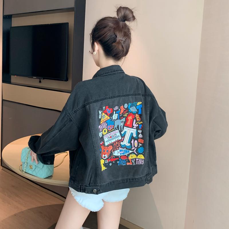 黑色牛仔外套女春秋季韩版宽松2020年新款牛仔衣服薄款ins潮网红-小柠檬-