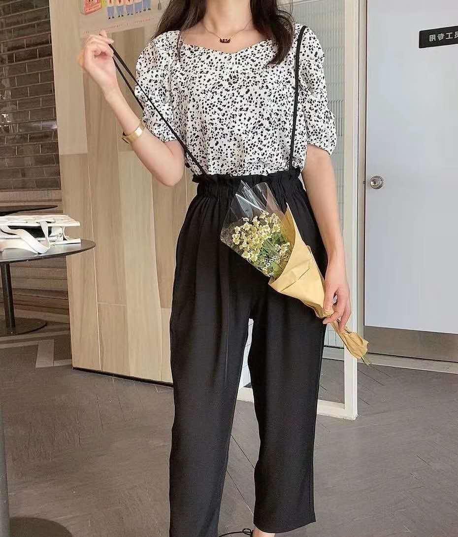 法式复古时尚套装夏季新款V领碎花上衣+九分裤高腰显瘦两件套女-小柠檬-