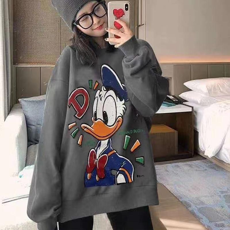 韩国东大门2020秋季新款卫衣女ins潮宽松显瘦唐老鸭印花套头上衣 -