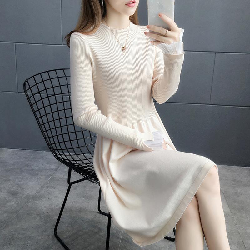 针织敦伦连衣裙子2020年新款秋季设计感小众收腰显瘦气质中长毛衣 -