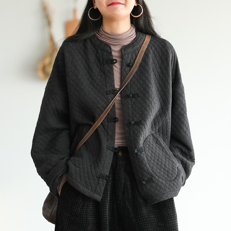 小耳出品全棉夹棉外套女冬季新款复古菱形格盘扣上衣宽松文艺女装