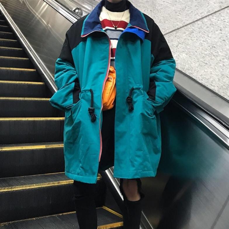 C2 重磅定制/ 17冬装韩国复古vintage撞色夹棉中长款外套男女潮