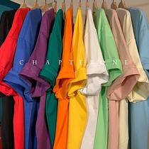 港仔文藝男夏季純色短袖T恤男ins潮流潮牌寬鬆半袖體恤港風情侶
