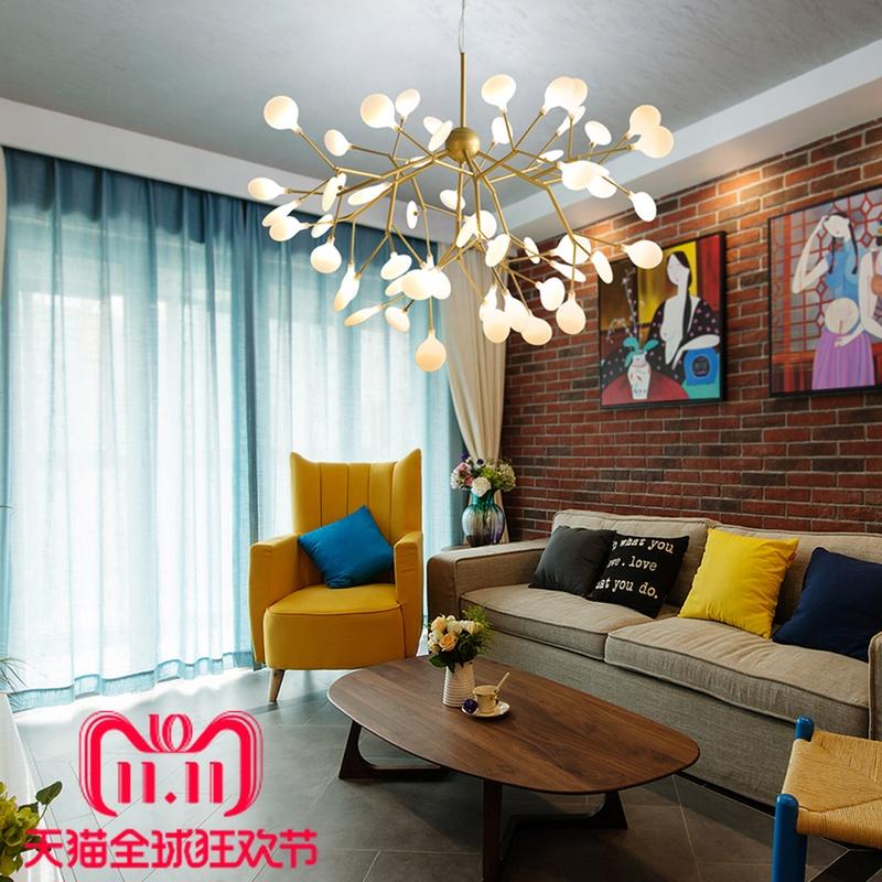 北欧后现代树枝创意个性led艺术餐厅客厅吊灯卧室叶子萤火虫吊灯-loft后现代灯饰