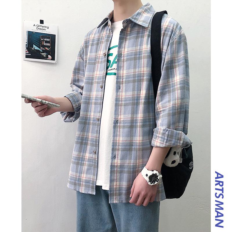 春秋格子衬衫宽松韩版夏季休闲男士长袖衬衣百搭学生情侣潮流外套