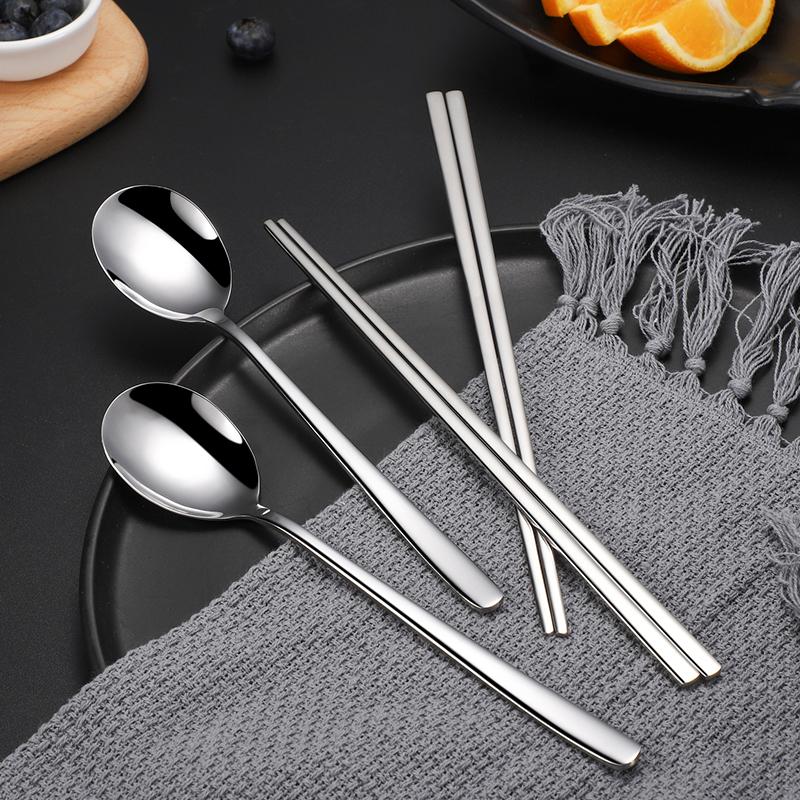 庆波不锈钢韩式餐具家用成人长柄勺子筷子套装商用餐厅调羹汤匙