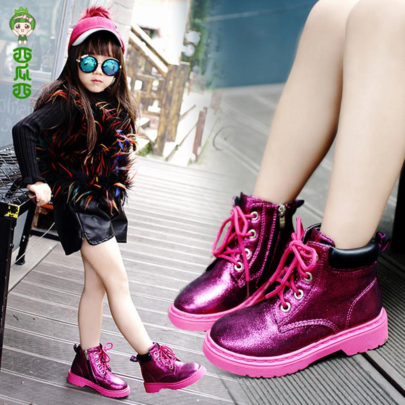 女童靴子童鞋2017秋冬新款儿童马丁靴大棉短靴公主加绒学生二棉鞋