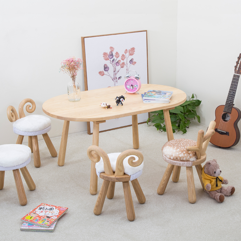 谢娜姐同款小鹿椅子桌椅北欧实木儿童礼物宝宝椅家用凳动物学习桌