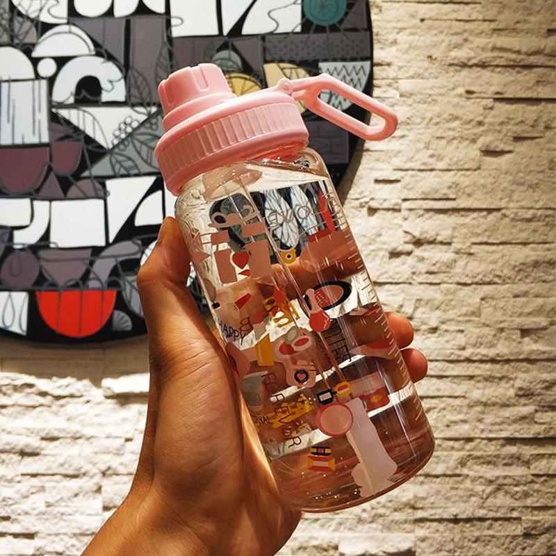 韩国网红可爱大容量吸管玻璃杯带刻度漫画水杯自行车密封牛奶茶杯