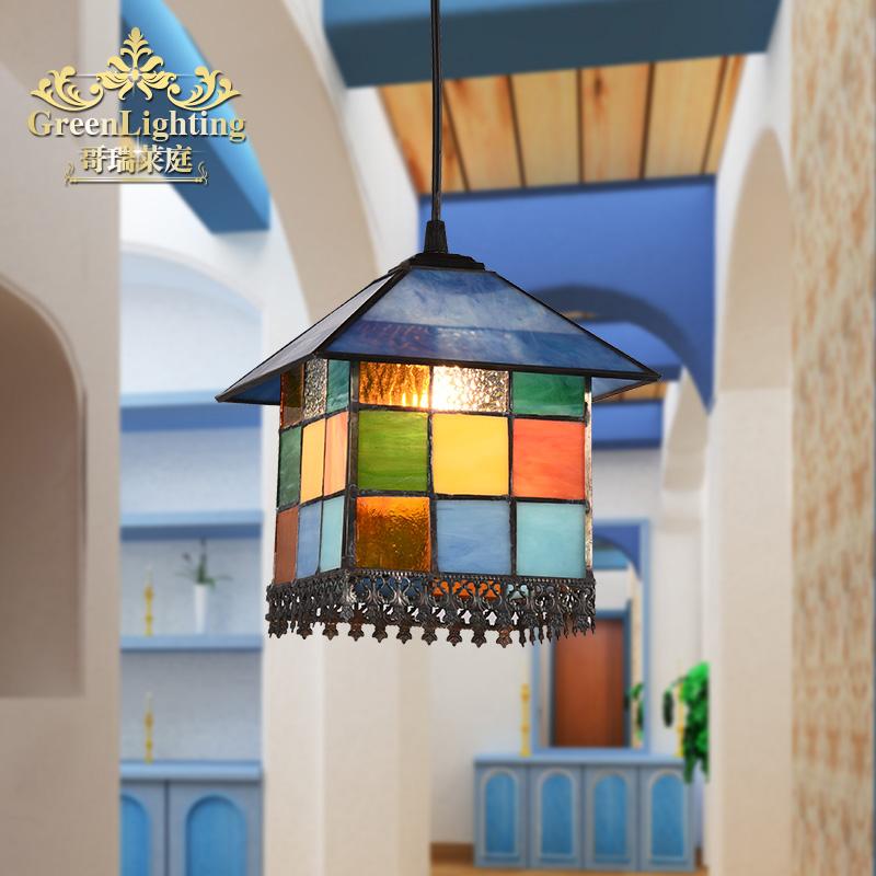 餐厅灯吊灯欧式田园地中海风格蒂凡尼过道走廊玄关阳台小吊灯蓝色_哥瑞莱庭旗舰店
