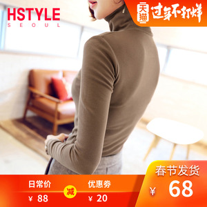 Handu clothing flagship store 2019 autumn new Korean women's turtleneck bottoming shirt solid color sweater outside