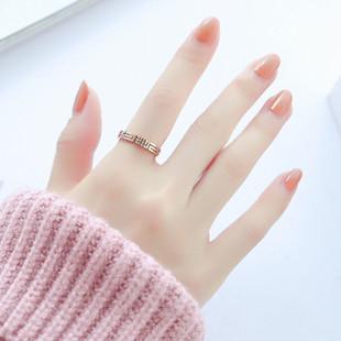 时尚新品创意镂空迷宫g字情侣戒指女对戒玫瑰金钛钢学生食指指环图片