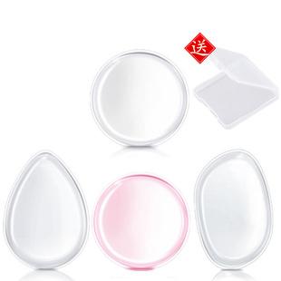 硅胶粉扑送盒 果冻透明圆形不吸粉气垫粉扑BB霜日本美妆蛋化妆扑