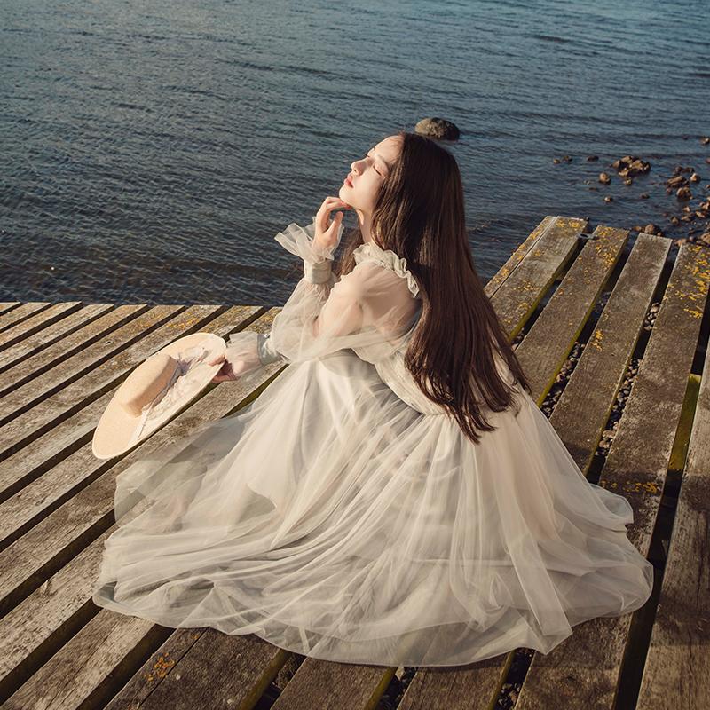 彼得潘大叔《致吾爱》灰蓝色真丝拼接网纱仙气连衣裙春季新款女装