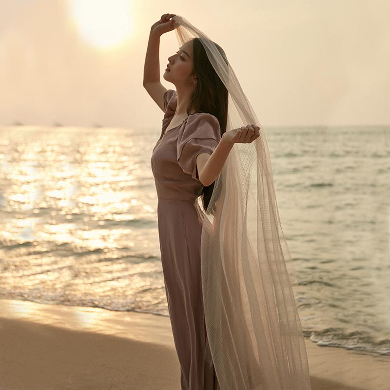 彼得潘大叔《以荷为美》灰粉色V领灯笼袖收腰大摆文艺连衣裙新款