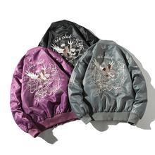 秋冬短款百搭加厚棉衣hs7套男女情td松飞行员夹克刺绣棒球服