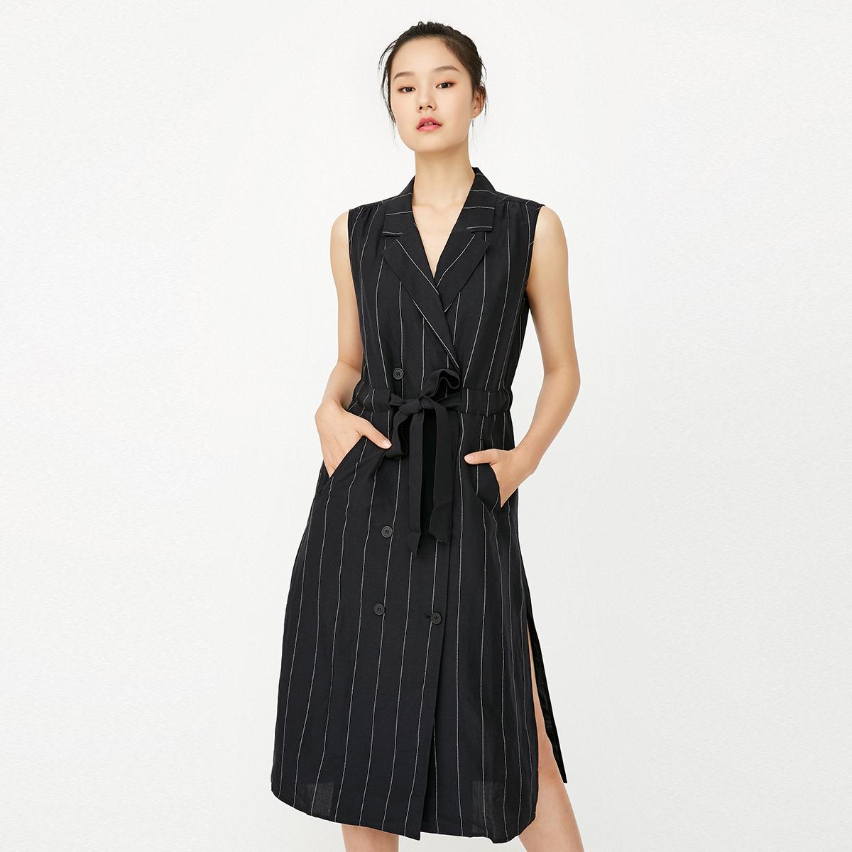 新款 条纹 双排 无袖 连衣裙