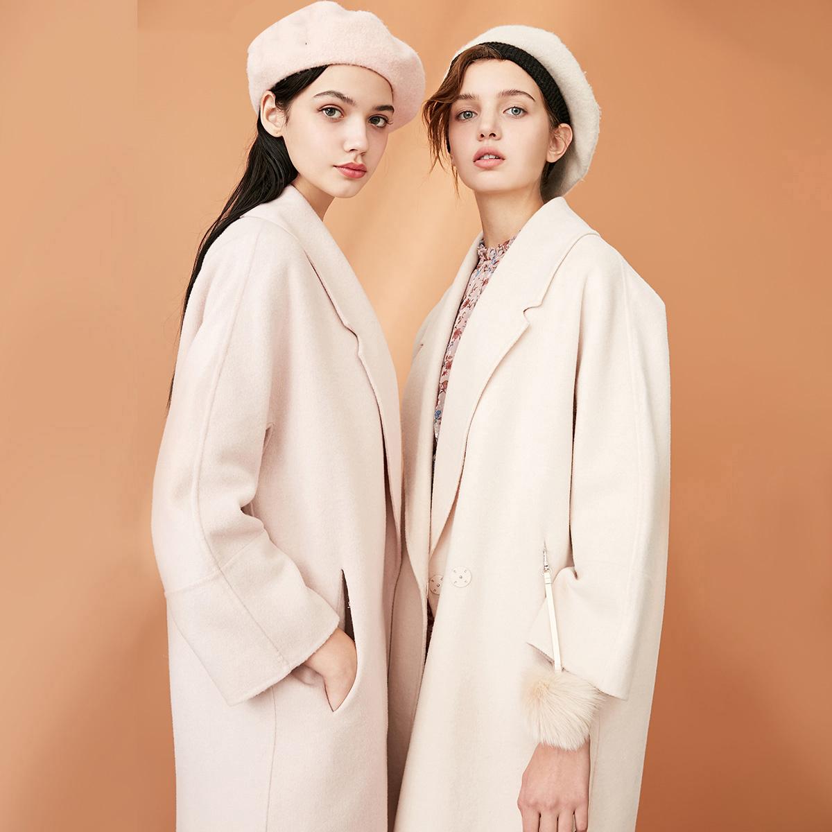 绫致Vero Moda春季女含羊毛翻领外套中长款毛呢大衣 319127504