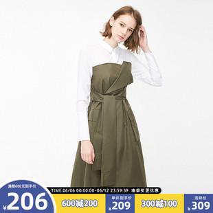 绫致Vero Moda夏季衬衫拼接假两件中长款A摆连衣裙女|3191SZ505