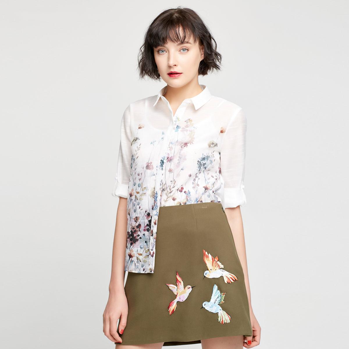 Vero Moda夏装新款两穿七分袖两件套印花衬衫女|317231550