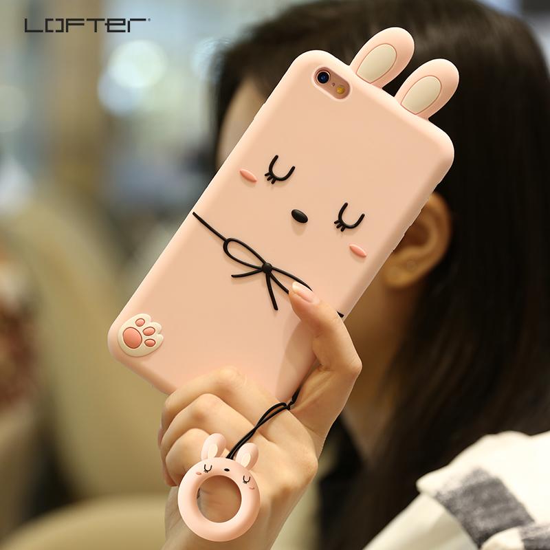 洛夫特 苹果6手机壳iphone6plus女款硅胶套可爱卡通创意挂绳软6s