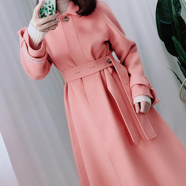 粉色 淑女 双面 羊绒 大衣 秋冬 新款 系带 过膝 毛呢 外套