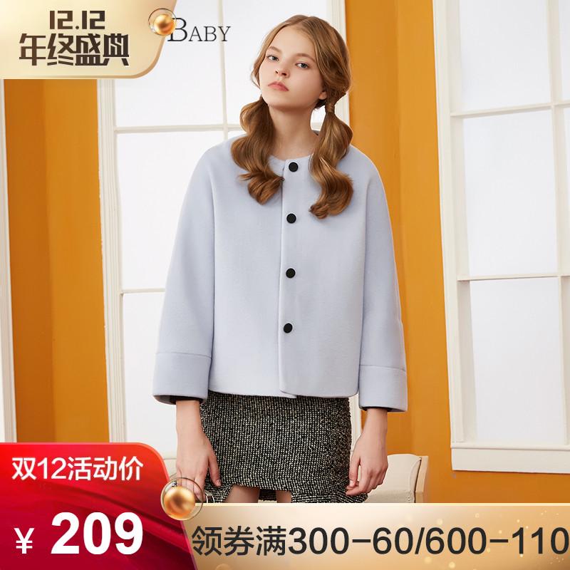 BANANA BABY冬季新款日系甜美复古风呢大衣短款毛呢