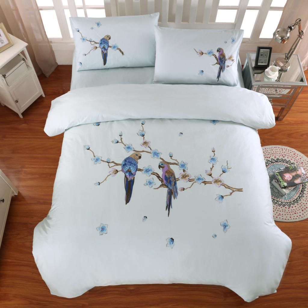 全棉刺绣四件套纯棉四件套绣花 床单 被套1.8床刺绣鹦鹉新款包邮
