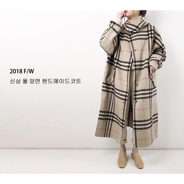 s韩东大门2018秋冬新品经典格子手缝双面羊毛羊绒大衣外套2233