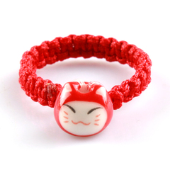Red String handmade rings rings lovely bone China Cat jewelry