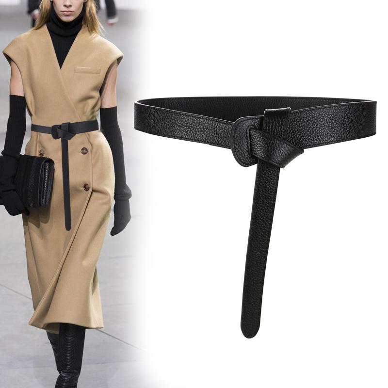时尚简约大衣腰带女士真皮牛皮装饰风衣皮带女打结腰带女配连衣裙
