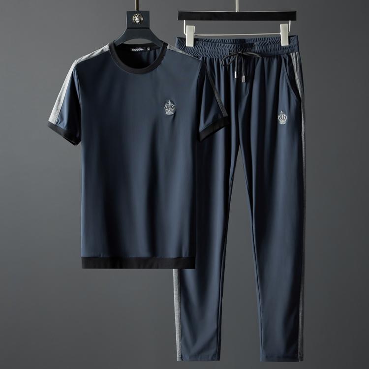 夏季运动套装男 丝滑薄款超弹面料圆领t恤短袖男套装两件套男休闲