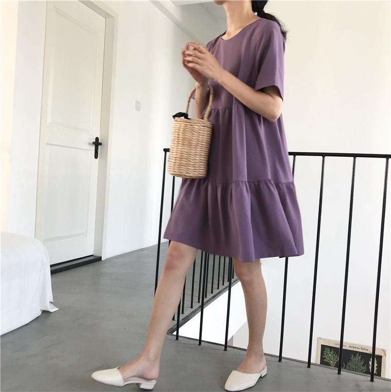 im向自制 就是好看!显瘦俏皮的短袖娃娃裙连衣裙~ 黑/薰衣草紫色