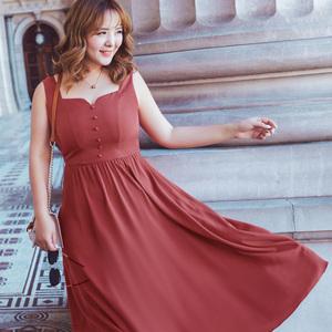 MsShe大码女装2018新款夏装  甜美背心连衣裙修身a摆长裙M1822025