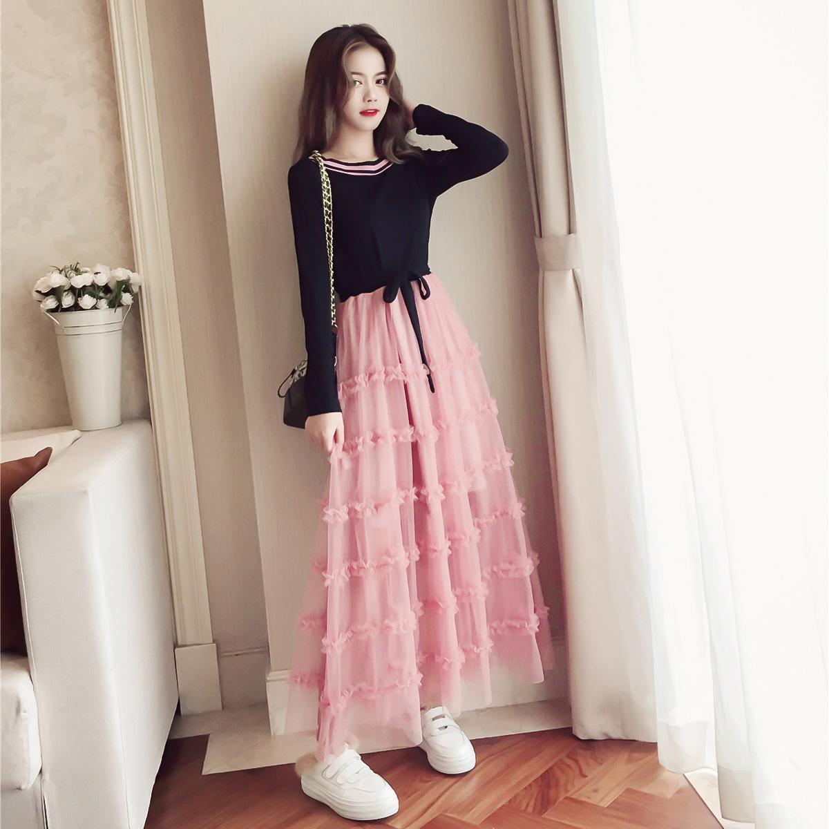 连衣裙女秋装2018新款韩版中长款针织网纱拼接长袖chic早秋长裙子