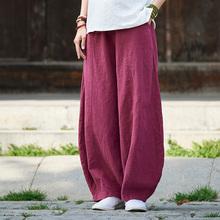 春秋复古棉麻太极裤ku6 运动练ni武术裤