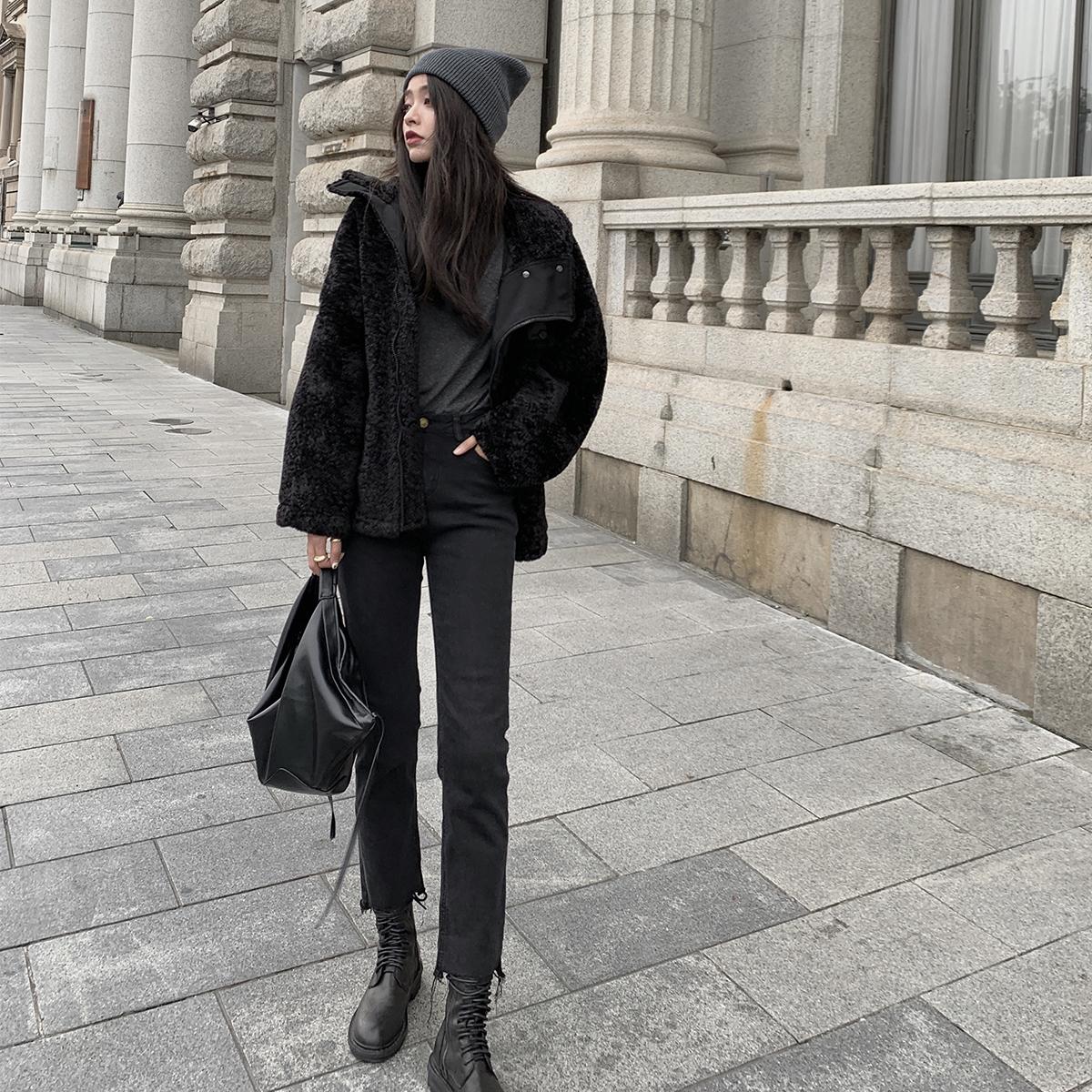 [¥146]女士黑色牛仔裤秋冬女2019新款潮高腰显瘦烟管直筒九分裤弹力裤子