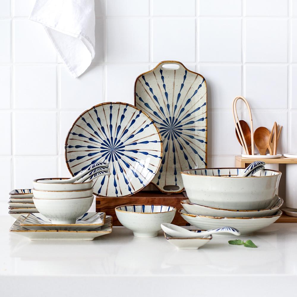 川岛屋 青蕾家用6人碗碟套装陶瓷25件餐具套装盘子碗TZ-5-川岛屋日式家居-12月