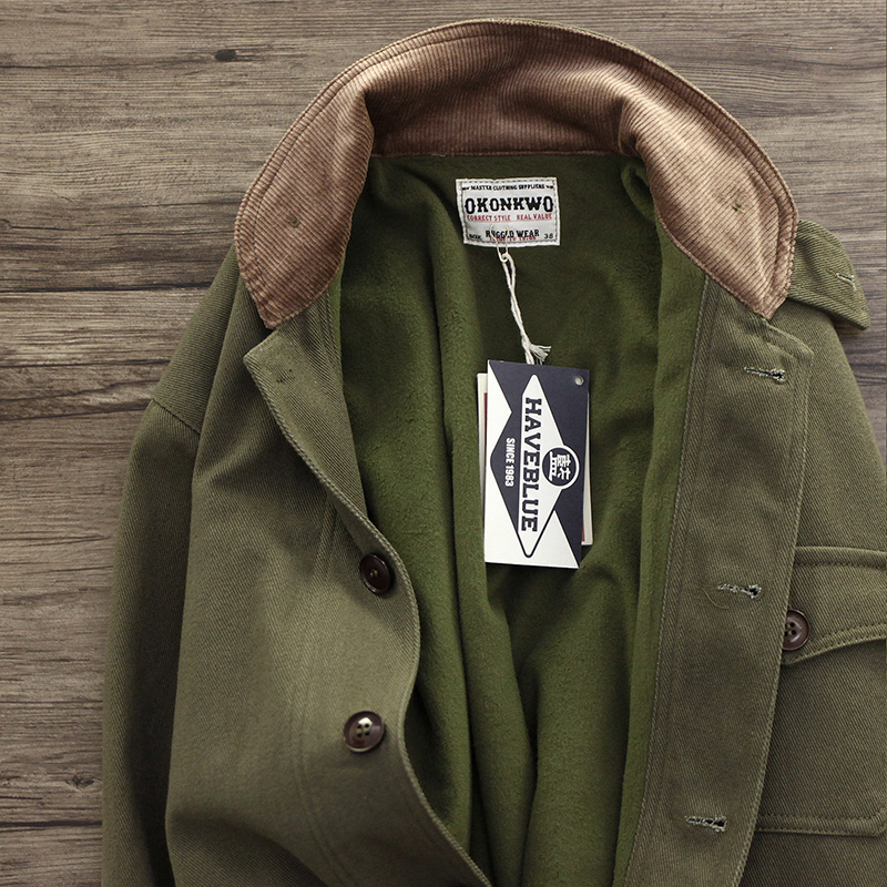 外套男阿美咔叽加厚加绒青果领复古卡其绿军事风多口袋工装夹克